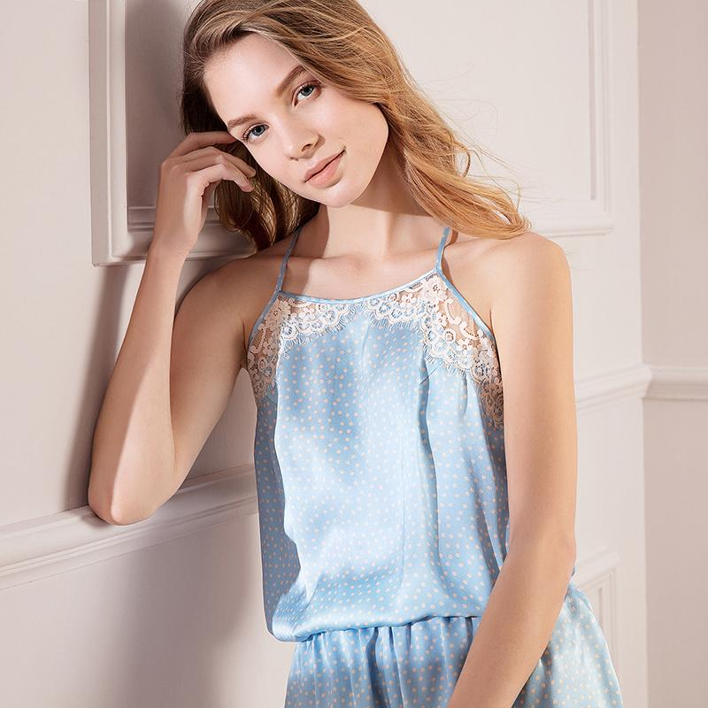 Women's Lovely Lace Short Silk Camisole Set