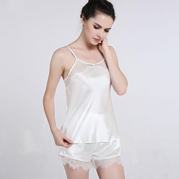 22 Momme High Quality Women's Elegant Lace Short Silk Camisole Set