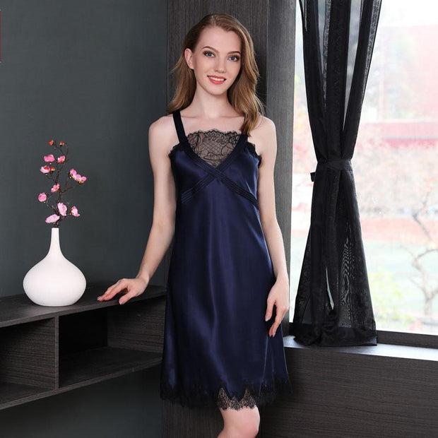 22 Momme High Quality Women's Elegant Lace Blue Silk Nightgown