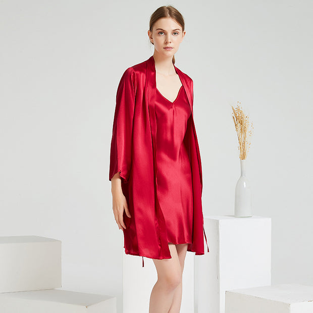 22 Momme High Quality Red Silk Robe Set-Two Pieces
