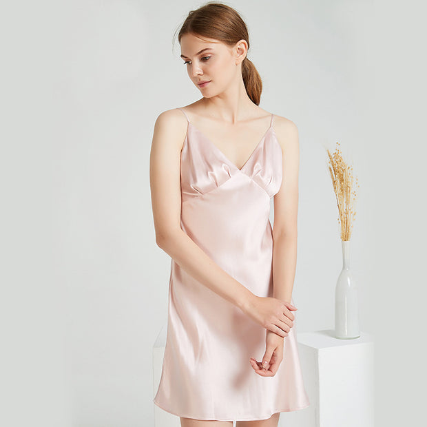 19 Momme Luxury Sexy V Neck Silk Nightgown | Multi-Colors Selected