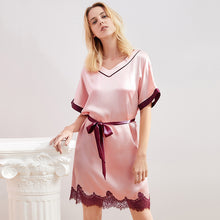 Loose Lace Silk Nightgown | Three Colors Selected