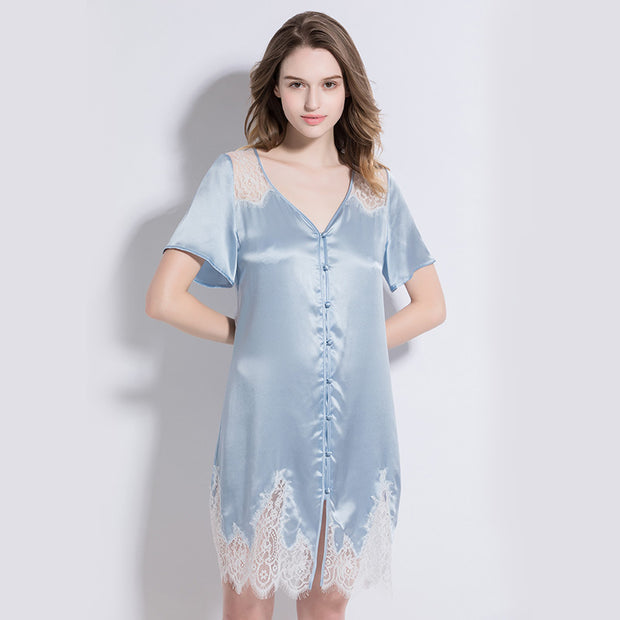 19 Momme Light Blue Lace Silk Nightgown