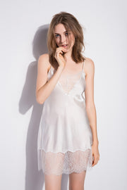 19 Momme White Sexy Lace Silk Nightgown
