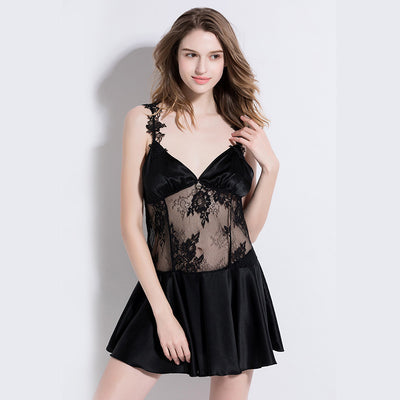 19 Momme Black Sexy Silk Nightgown