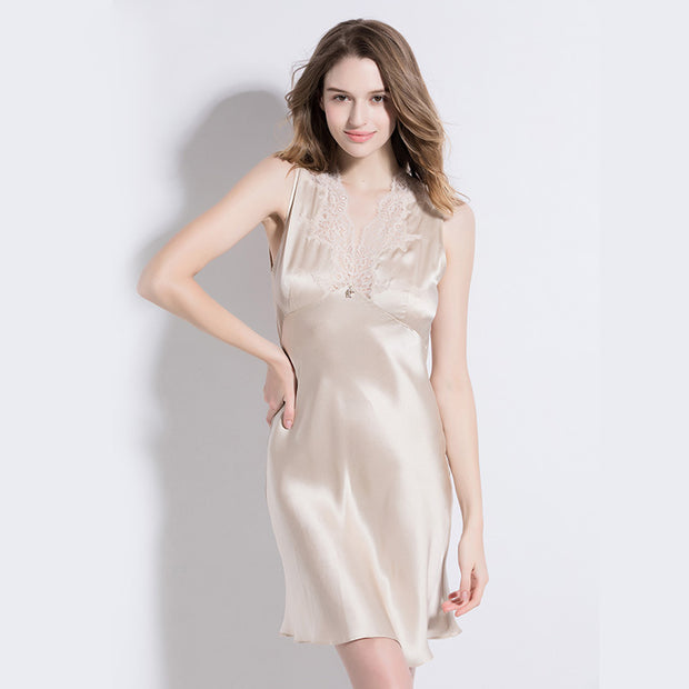 19 Momme Beige Lace Silk Nightgown