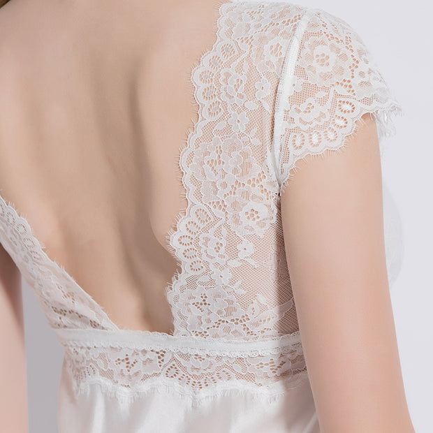 19 Momme Chic White Lace Silk Nightgown