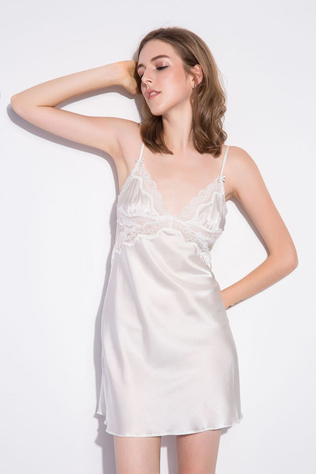 19 Momme Classic Short Lace Silk Nightgown | Two Colors Selected