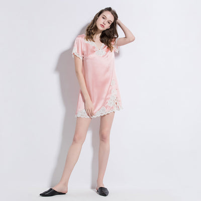 19 Momme Charming Pink Short Sleeves Silk Nightgown