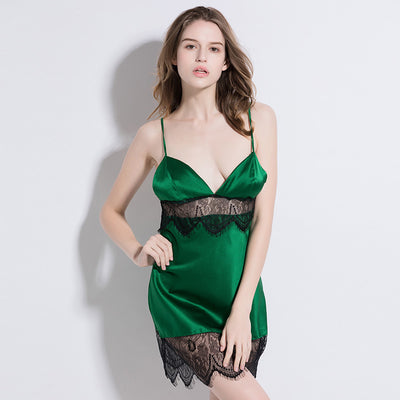 19 Momme Charming Green Short Silk Nightgown
