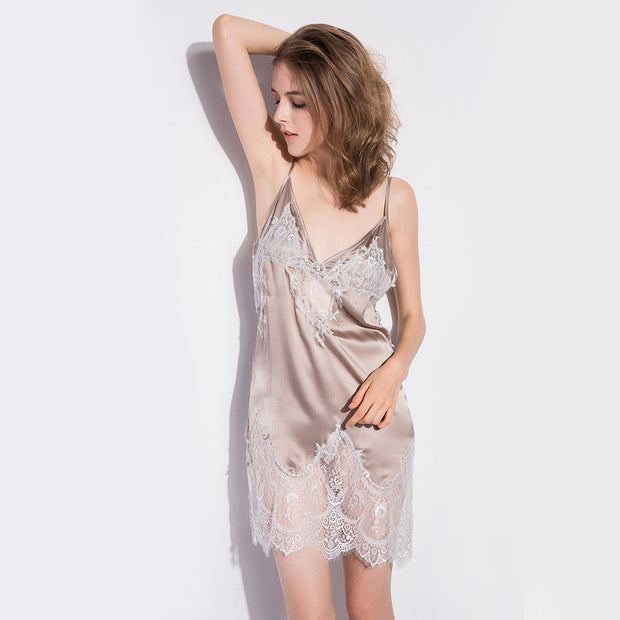 19 Momme Champagne Lace Silk Nightgown