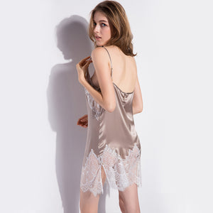 Champagne Lace Silk Nightgown