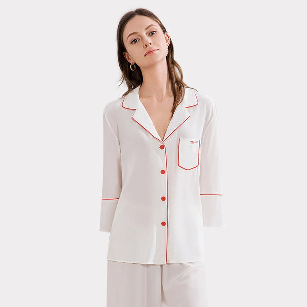 25 Momme Women's Mode Silk Pajamas Set (Wearable outside)