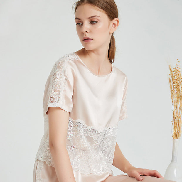 22 Momme High Quality Sexy Lace Silk Pajamas Set
