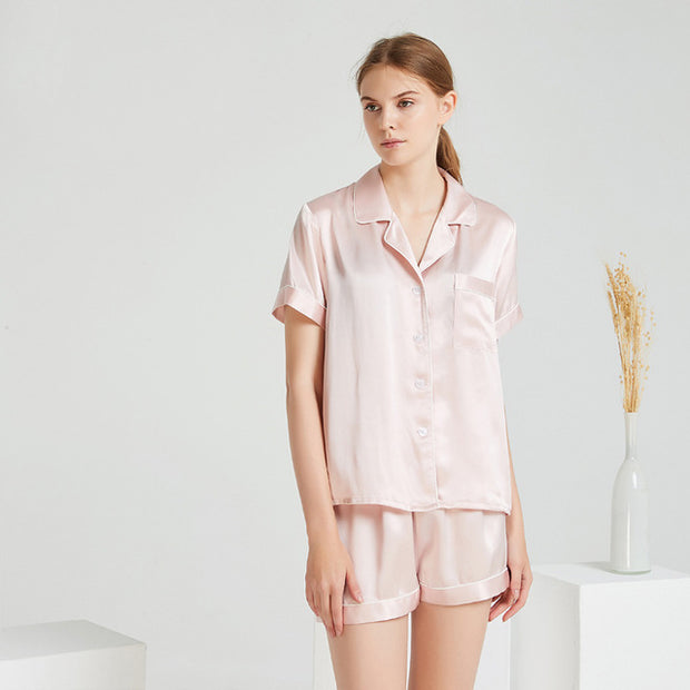 22 Momme High Quality Pink Short Silk Pajamas Set