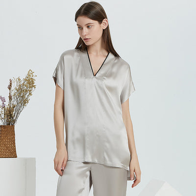 19 Momme Grey Loose Long Silk Pajamas Set