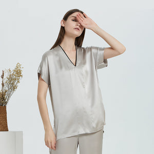 Luxury Grey Loose Long Silk Pajamas Set