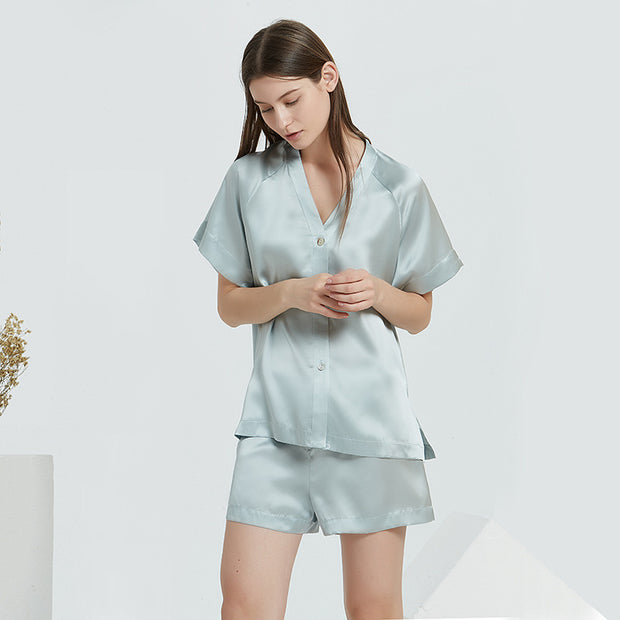 19 Momme Blue Lifestyle Short Silk Pajamas Set