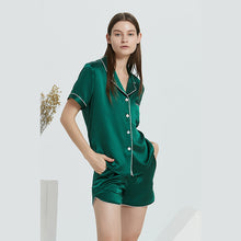 Luxury Summer Contrast Trim Short Silk Pajamas Set