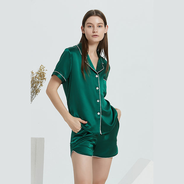 22 Momme Summer Contrast Trim Short Silk Pajamas Set