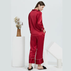 High Quality French Design Classic Long Silk Pajamas Set | Multi-Colors Selected