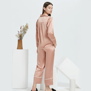High Quality Classic Long Silk Pajamas Set