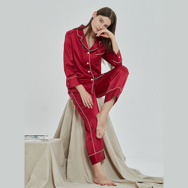19 Momme French Design Long Silk Pajamas Set | Multi-Colors Selected