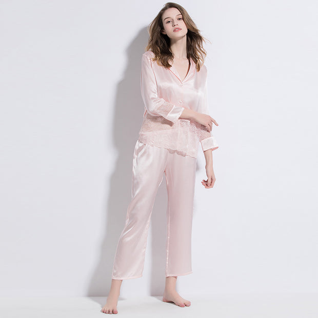 19 Momme Pink Lace Silk Pajamas Set