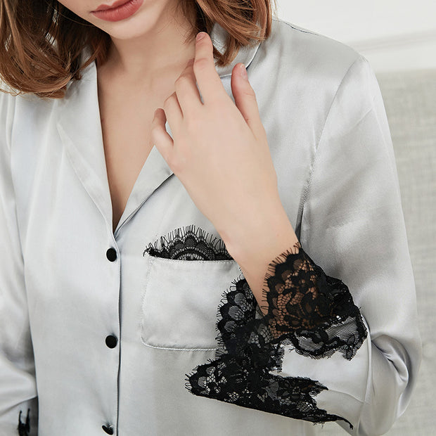 22 Momme High Quality Black Lace Grey Silk Pajamas Set