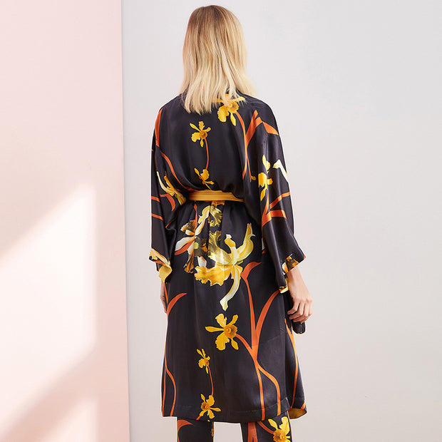 25 Momme Luxury Black Printed Silk Robe Pajamas Set | Three Pieces Set