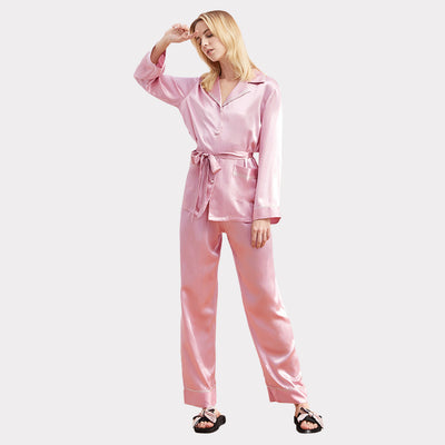 22 Momme High Quality Sweet Long Silk Pajamas Set