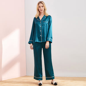 High Quality Vintage Classic Long Silk Pajamas Set