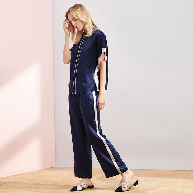 19 Momme Contrast Color Lifestyle Long Silk Pajamas Set