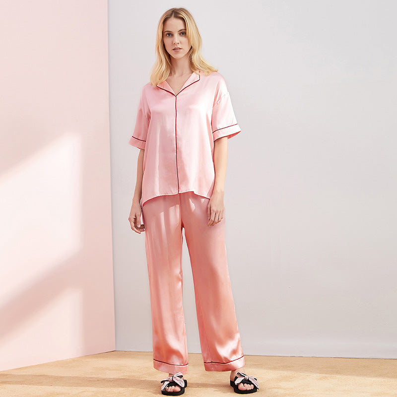 High Quality Classic Middle Sleeves Silk Pajamas Set
