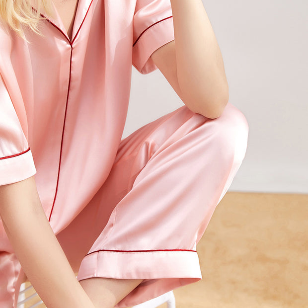 19 Momme Classic Middle Sleeves Silk Pajamas Set