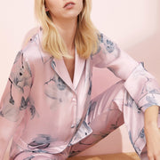 19 Momme Flower Printed Pink Long Silk Pajamas Set