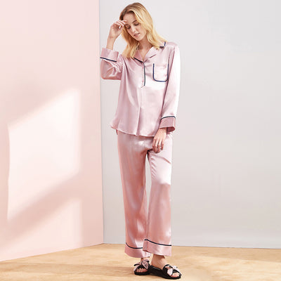 22 Momme High Quality Pink Long Silk Shirt Pajamas Set