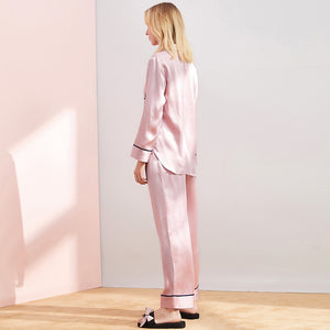 High Quality Pink Long Silk Shirt Pajamas Set