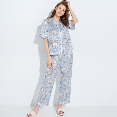 22 Momme High Quality Elegant Flower Printed Blue Long Silk Pajamas Set