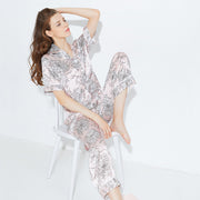 22 Momme High Quality Elegant Flower Printed Pink Long Silk Pajamas Set