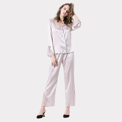 22 Momme High Quality Beige Lace Silk Pajamas Set