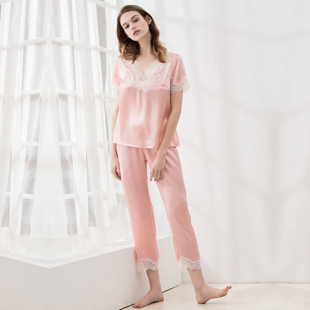 22 Momme High Quality Lovely Pink Lace Silk Pajamas Set