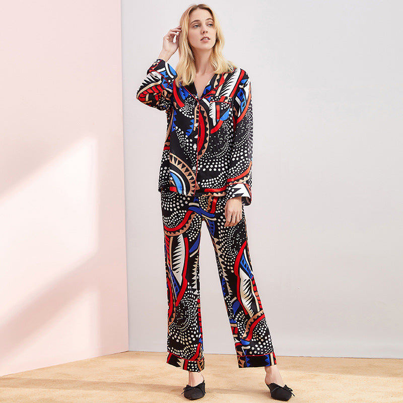 High Quality Elegant Black Printed Long Silk Pajamas Set