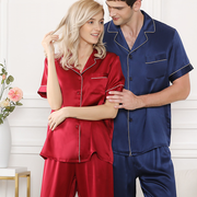 19 Momme Chic Trimmed Silk Couple Pajamas Sets