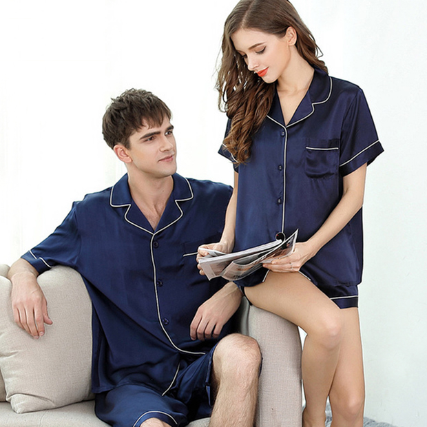 19 Momme Unique Short-sleeved Silk Couple Pajamas Sets