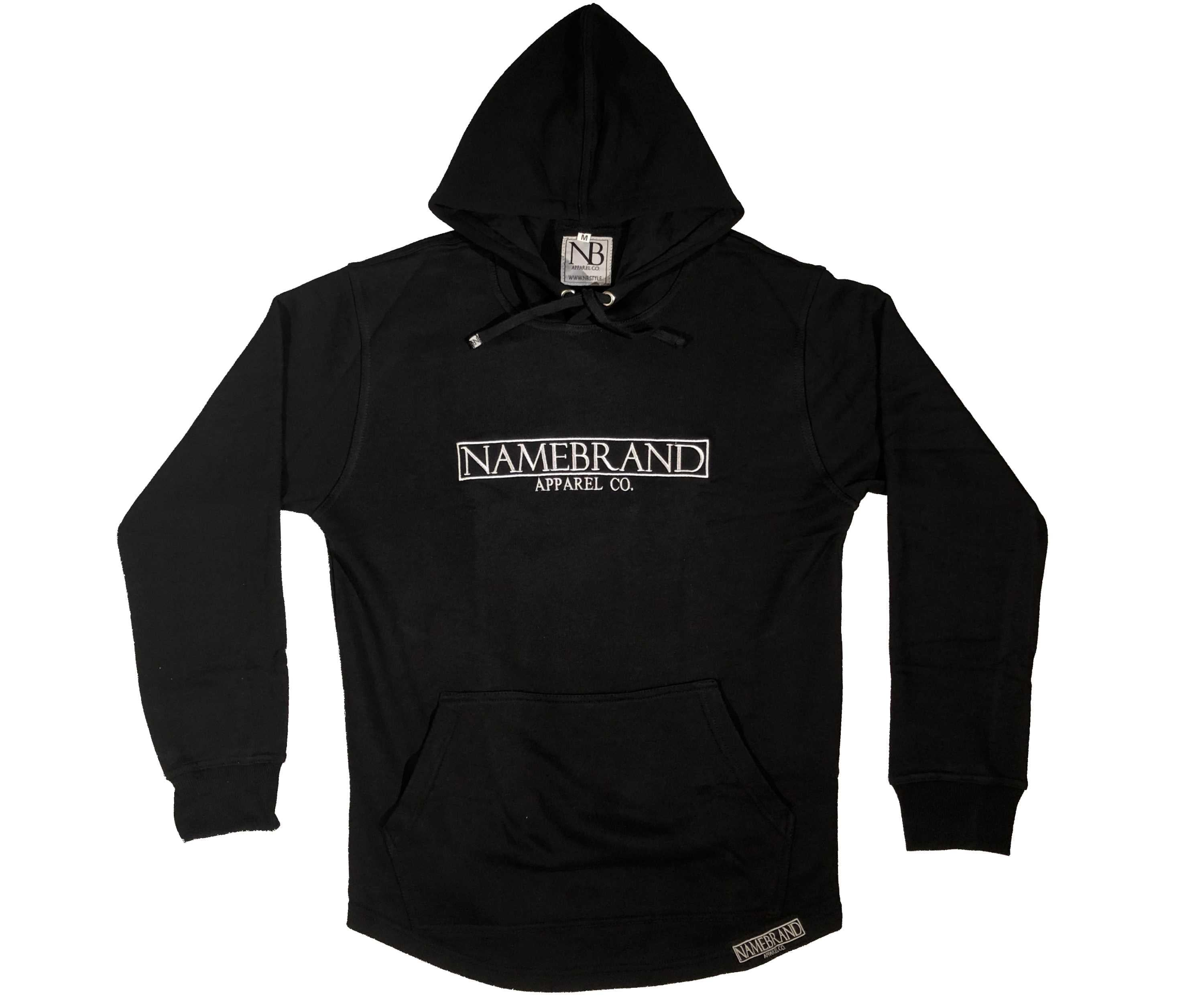 Black Embroidered Box Hoodie