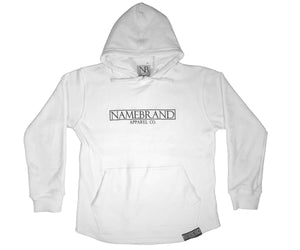 White Embroidered Box Hoodie