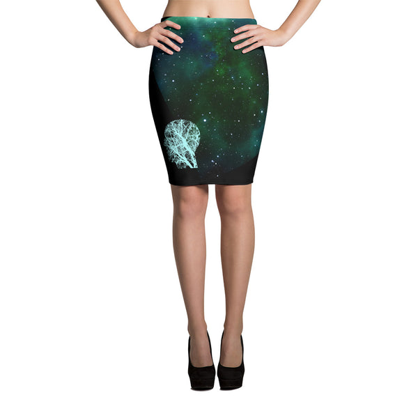 Women's PurFit Headspace pencil skirt with space print and head