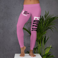 women's workout pink leggings with eat sleep cat logo on upper right leg and purfit brand on left