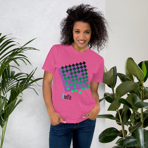 Woman wearing PurFit Rad Like You t shirt pink